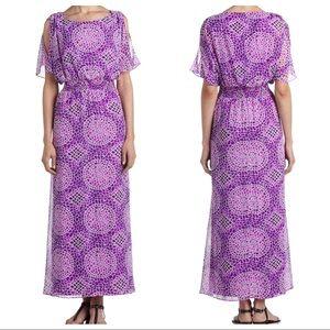 Laundry Amethyst Geo Mosaic Print Long Maxi Dress